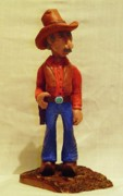 Woodcarving Sculpture Originals - Cowboy Rancher by Russell Ellingsworth