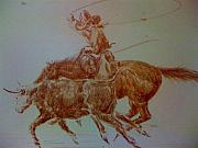 Steer Mixed Media - Cowboy Roping Cow by Smart Healthy Life