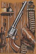 Action Drawings Prints - Cowboy s Log Print by Ricardo dos Reis