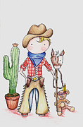 Sheriff Drawings Framed Prints - Cowboy Framed Print by Sarah LoCascio