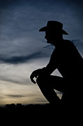 Real Man Framed Prints - Cowboy silhouette at sunset Framed Print by Andre Babiak