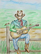 Music Drawings Framed Prints - Cowboy Framed Print by Thuraya R