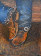 Brown Boots Painting Originals - Cowboy Up by Patricia Caldwell