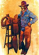 Cowboy Mixed Media Posters - Cowboy Poster by Valerian Ruppert