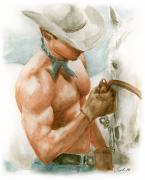 Cowboy Drawings - Cowboy Watercolor by Bruce Lennon