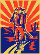 Desert Cactus Framed Prints - Cowboy with backpack and rifle walking Framed Print by Aloysius Patrimonio