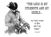 Cowboy Pencil Drawing Framed Prints - Cowboy with Bible Verse Framed Print by Joyce Geleynse