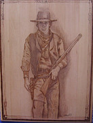 Cowboy Pyrography Originals - Cowboy With Friends by Rj Schiller