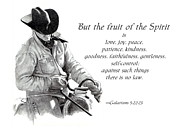 Bible Drawings Framed Prints - Cowboy With Fruit of Spirit Scripture Framed Print by Joyce Geleynse