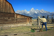 Karen Lee Ensley - Cowboy with Grand Tetons...