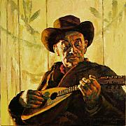 Playing Painting Originals - Cowboy with Mandolin by John Lautermilch