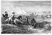 Branding Prints - Cowboys Branding Cattle On The Prairies Print by Everett