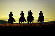 Four People Posters - Cowboys Hitting The Trail At Sunrise, Oregon, Usa Poster by Inga Spence