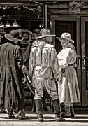Cowgirl Skirt Framed Prints - Cowboys in monochrome Framed Print by Kathleen K Parker