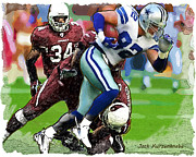 Witten Prints - Cowboys Jason Witten Cardinals Tim Hightower Print by Jack Kurzenknabe