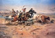 American  Paintings - Cowboys roping a steer by Charles Marion Russell
