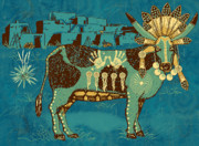 Indian Art - Cowchina by Laura Brightwood
