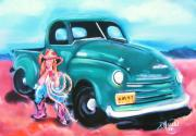 Rope Pastels Framed Prints - Cowgirl and Truck Framed Print by Dolores Aragon