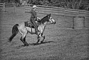 Western Photos - Cowgirl At Heart BW by Susan Candelario