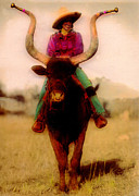 Cowgirl Mixed Media - Cowgirl On A Bull by JDon Cook