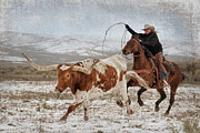 Longhorn Photos - Cowgirl Roping Longhorn by Heather Swan