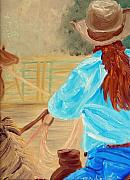Cowgirl Prints Paintings - Cowgirl Roping by Michael Lee