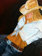 Cowgirl Prints Paintings - Cowgirl by Timothy  Evans