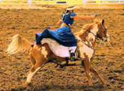 Photos Of Rodeo Events Posters - Cowgirls can shoot Poster by Cheryl Poland