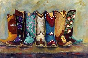 Ribbon Posters - Cowgirls Kickin the Blues Poster by Frances Marino