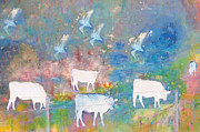 Cows And Birds Print by Jeff Burgess