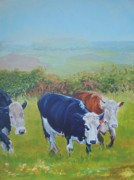 Mike Jory Cow Posters - Cows and English Landscape Poster by Mike Jory
