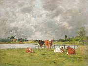 Storm Clouds Painting Framed Prints - Cows in a Field under a Stormy Sky Framed Print by Eugene Louis Boudin