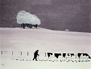 White Farm Posters - Cows in a snowstorm Poster by Maggie Rowe
