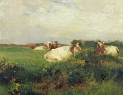 Clouds Painting Framed Prints - Cows in Field Framed Print by Walter Frederick Osborne