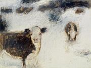 New Mexico Pastels Originals - Cows in Snow by Ruth Sharton
