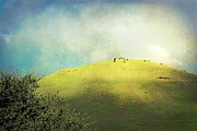 Textured Landscapes Digital Art - Cows on a Hill by Ellen Cotton