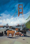Golden Gate Paintings - Cows on the Bridge 1 by Kathryn LeMieux
