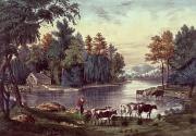 American School; (19th Century) Framed Prints - Cows on the Shore of a Lake Framed Print by Currier and Ives