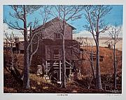Old Mills Paintings - COX  BEAN MILL Limited Edition Signed and numbered Print by Larry Hoskins