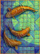 Golden Fish Painting Posters - Coy Koi Poster by Jane Bucci