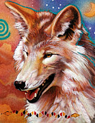 Airbrush Prints - Coyote - The Trickster Print by J W Baker