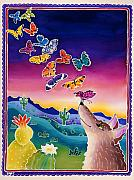 Whimsical Art Painting Prints - Coyote and the Laughing Butterflies Print by Harriet Peck Taylor