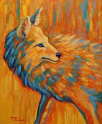 Abstract Wildlife Painting Prints - Coyote at Sunset Print by Theresa Paden