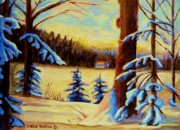 Montreal Winterscenes Art - Cozy Cabin In The Woods by Carole Spandau