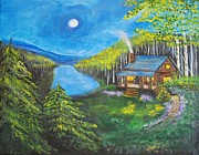 Log Cabin Art Painting Posters - Cozy Cabin Poster by Leslie Allen