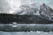 Canadian Rockies Posters - Cozy Cabin Morning Poster by Andrea Hazel Ihlefeld