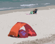 Umbrellas Digital Art - Cozy Hide-a-Way for two on a Florida Beach by Allan  Hughes