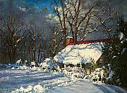 Brown House Pastels Prints - Cozy in the Snow Print by L Diane Johnson