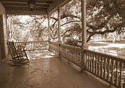 Rocking Chairs Framed Prints - Cozy Southern Porch Framed Print by Carol Groenen