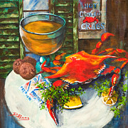 Dianne Parks Prints - Crab and Crackers Print by Dianne Parks
